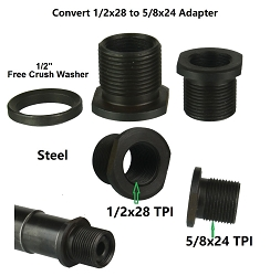 1/2-28 TPI Thread Protector with 5/8-24 TPI Outside Thread, 1/2x28 TPI to 5/8x24 TPI Convertor. Black Steel