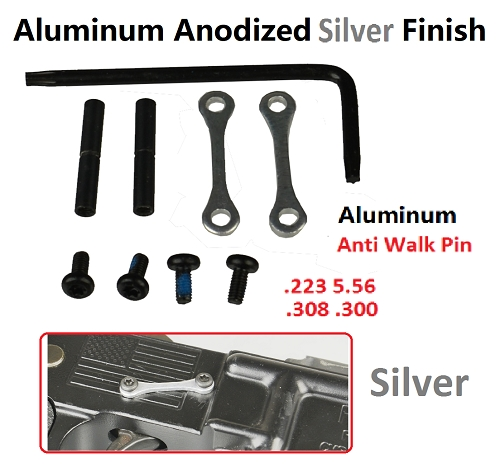 New  Anti Walk Pins 2 Aluminum Side Plates Anodized Silver 2 Locking Pins Non Rotating Kit