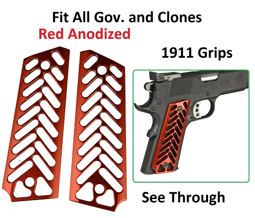 Skeleton Red Anodized Aluminum 1911 Grips Fit Gov. and Clones