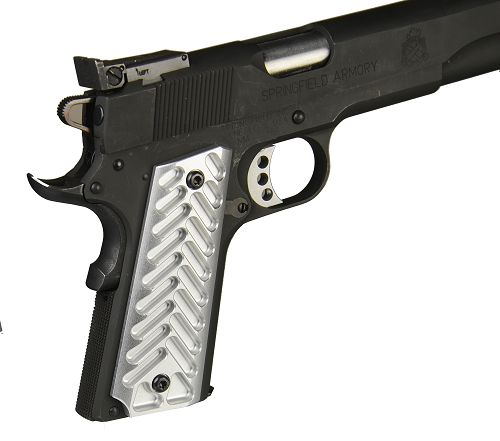 Half Cut Skeleton  Silver Anodized Aluminum 1911 Grips Fit Gov. and Clones